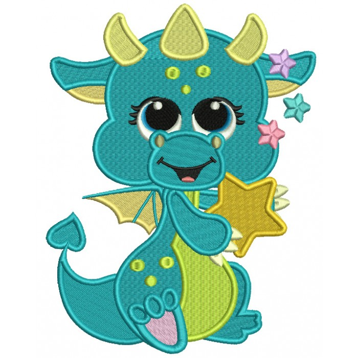 Cute Little Dino Holding Big Star Filled Machine Embroidery Design Digitized Pattern