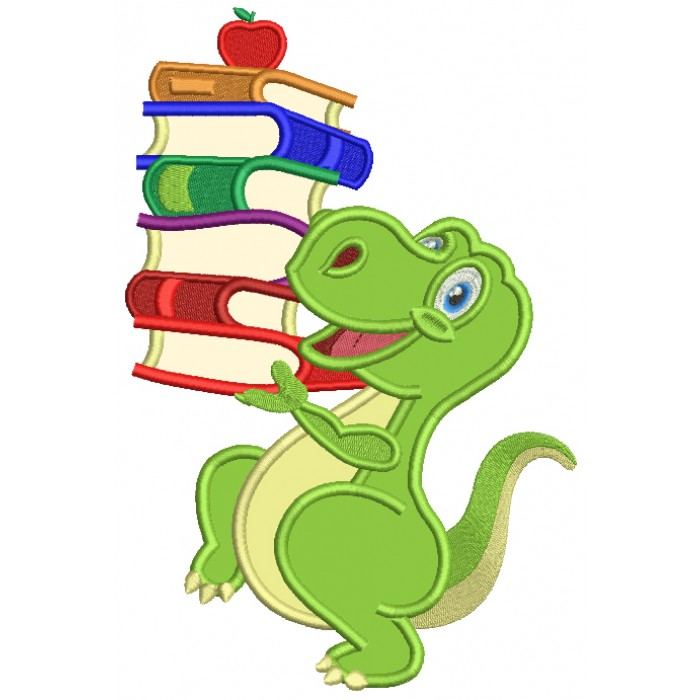Cute Little Dino With Books School Applique Machine Embroidery Design Digitized Pattern