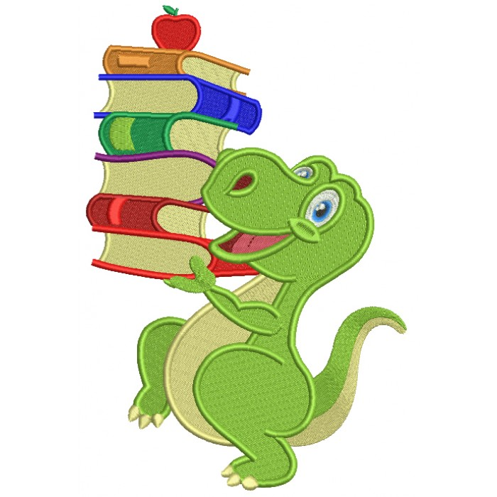 Cute Little Dino With Books School Filled Machine Embroidery Design Digitized Pattern