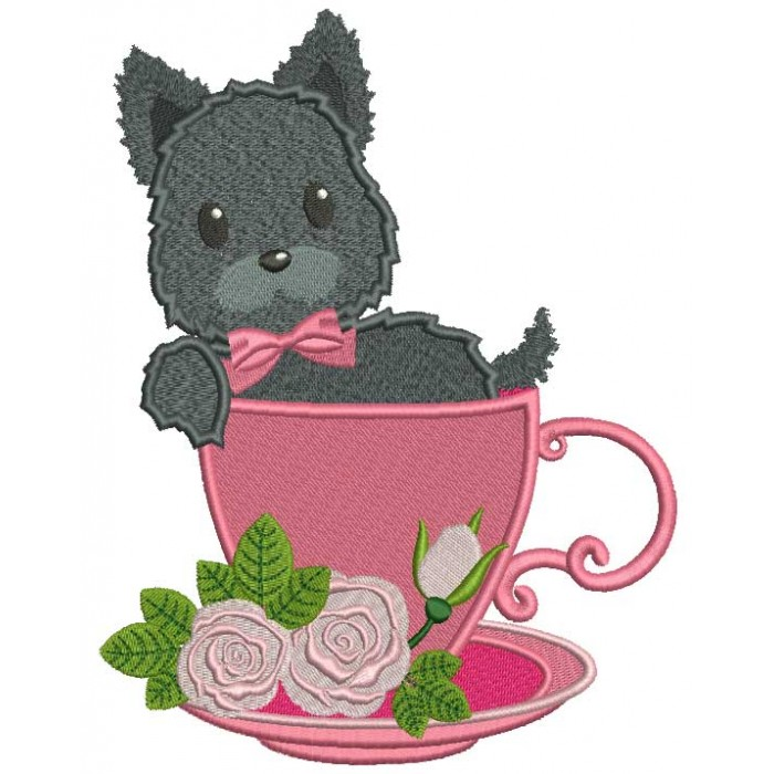 Cute Little Dog Sitting In a Beautiful Cup Filled Machine Embroidery Design Digitized Pattern