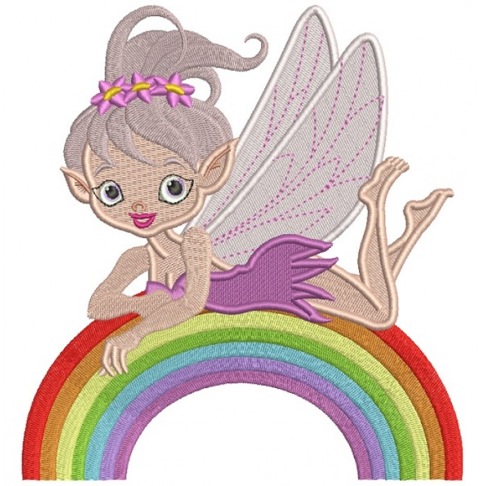 Cute Little Fairy On The Rainbow Filled Machine Embroidery Design Digitized Pattern
