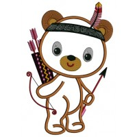 Cute Little Indian Bear With a Feather Thanksgiving Applique Machine Embroidery Design Digitized Pattern