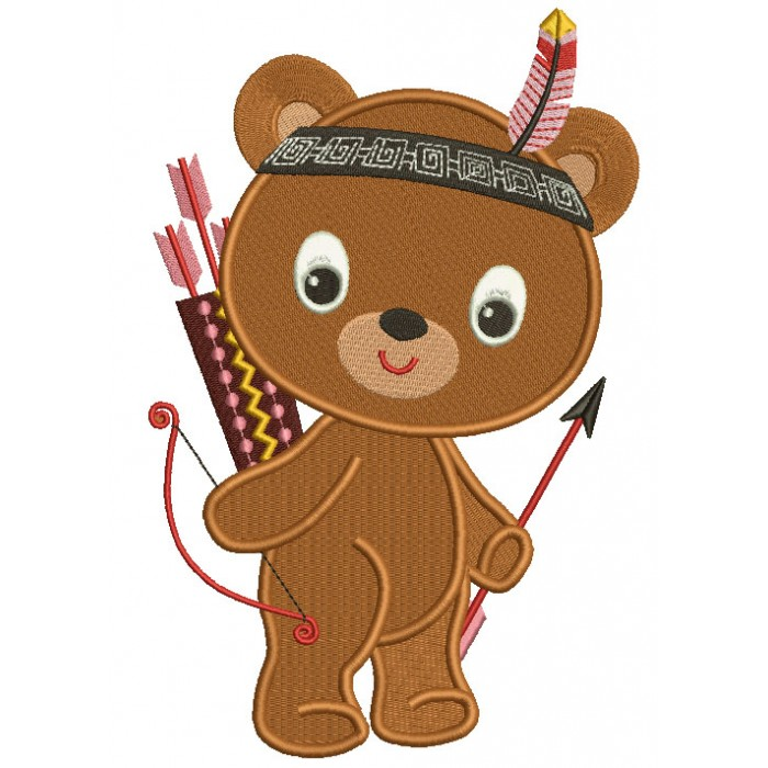 Cute Little Indian Bear With a Feather Thanksgiving Filled Machine Embroidery Design Digitized Pattern