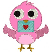 Cute Little Love Bird Holding an Envelope Applique Machine Embroidery Design Digitized Pattern