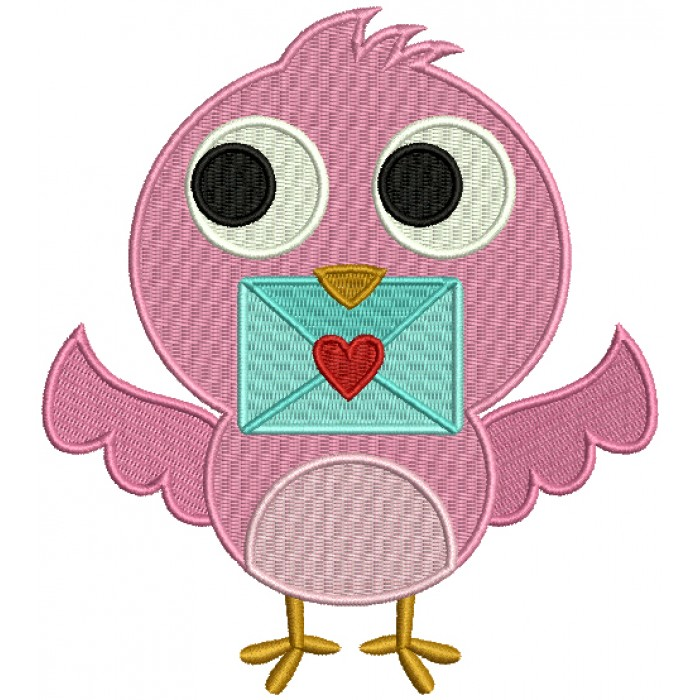 Cute Little Love Bird Holding an Envelope Filled Machine Embroidery Design Digitized Pattern