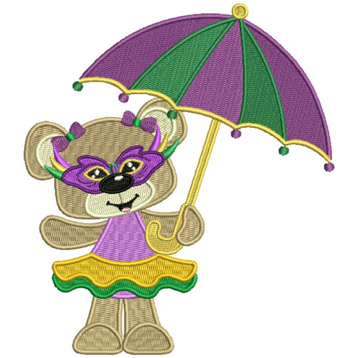 Cute Little Mardi Grass Girl Bear Holding Umbrella Filled Machine Embroidery Design Digitized Pattern