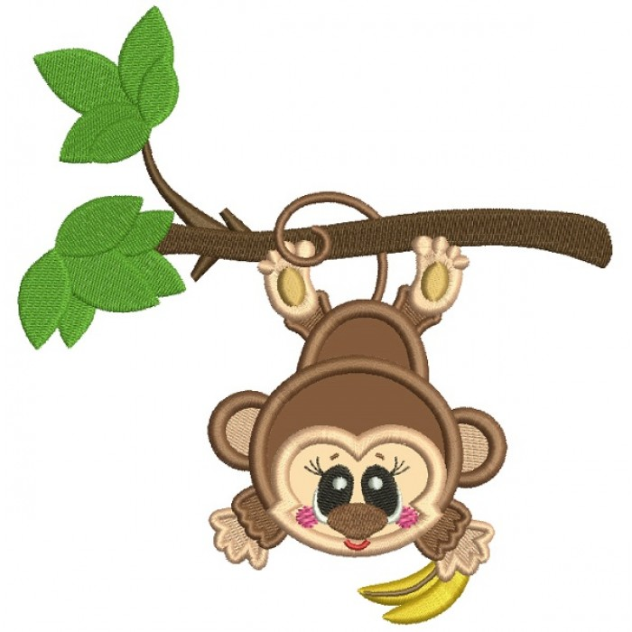 Cute Little Monkey Hanging From The Tree Branch Applique Machine Embroidery Design Digitized Pattern