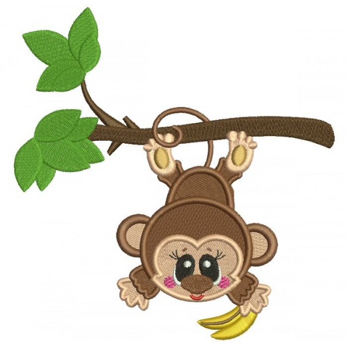 Cute Little Monkey Hanging From The Tree Branch Filled Machine Embroidery Design Digitized Pattern