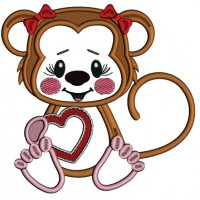 Cute Little Monkey With a Big Heart Applique Machine Embroidery Design Digitized Pattern
