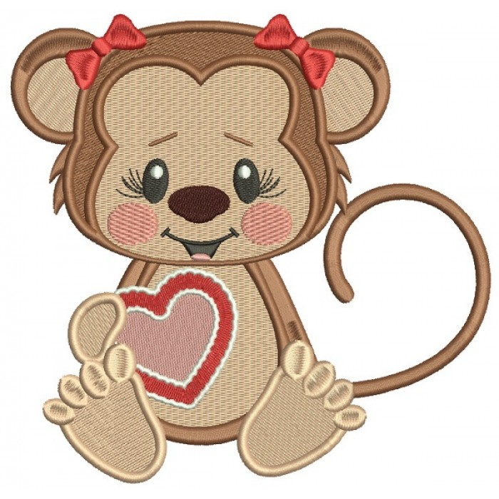 Cute Little Monkey With a Big Heart Filled Machine Embroidery Design Digitized Pattern