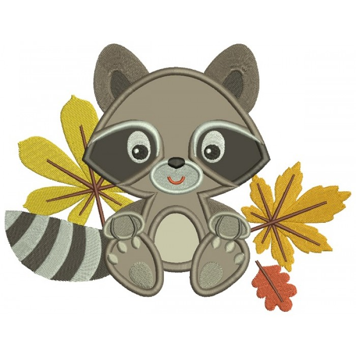 Cute Little Racoon With Leaves Applique Machine Embroidery Design Digitized Pattern