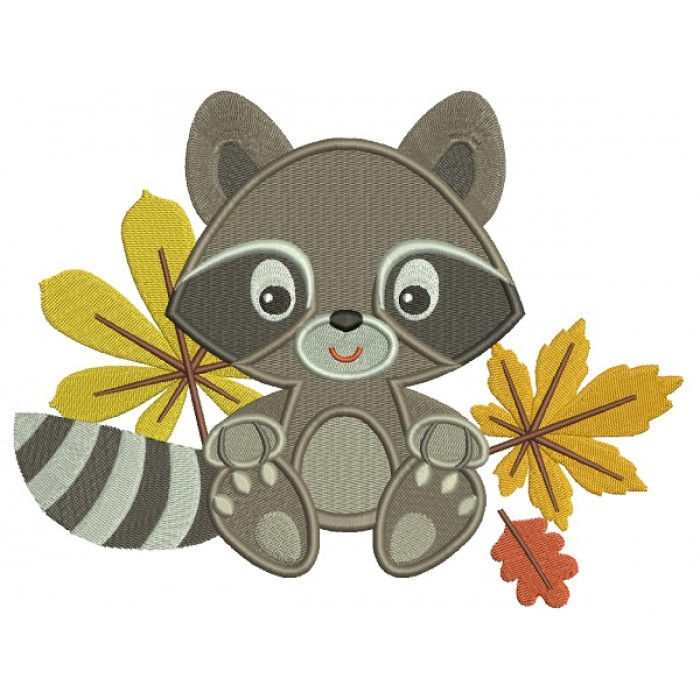 Cute Little Raccoon With Leaves Filled Machine Embroidery Design Digitized Pattern
