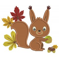 Cute Little Squirrel With Leaves Applique Machine Embroidery Design Digitized Pattern