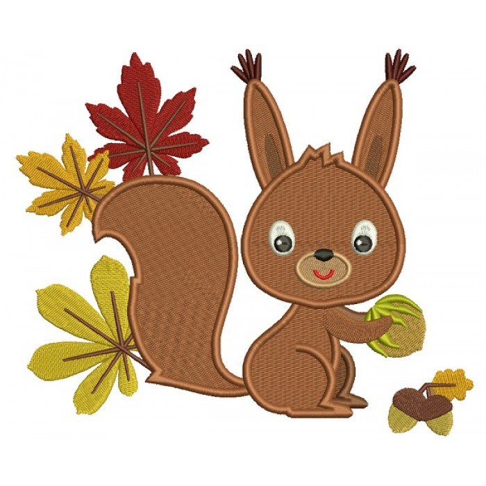 Cute Little Squirrel With Leaves Filled Machine Embroidery Design Digitized Pattern
