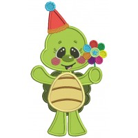 Cute Little Turtle Holding a Flower Applique Machine Embroidery Design Digitized Pattern