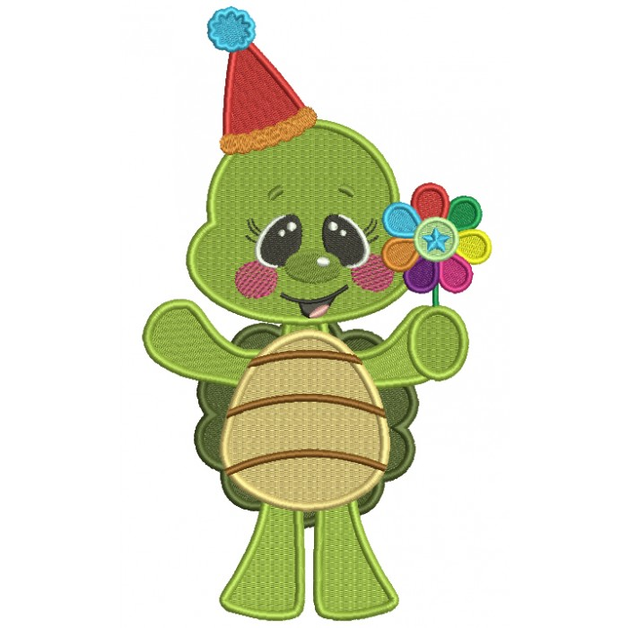 Cute Little Turtle Holding a Flower Filled Machine Embroidery Design Digitized Pattern