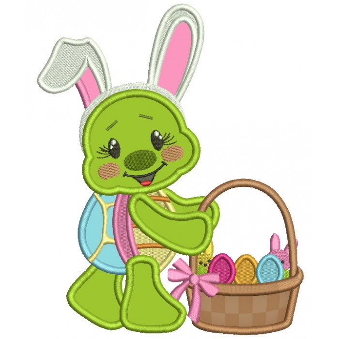 Cute Little Turtle With Bunny Ears Easter Applique Machine Embroidery Design Digitized Pattern
