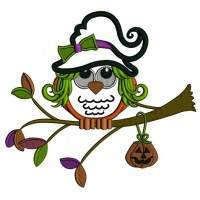 Cute Owl Wearing Witch Hat Sitting On The Branch Applique Machine Embroidery Design Digitized Pattern