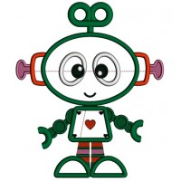 Cute Robot With Heart Applique Machine Embroidery Design Digitized Pattern
