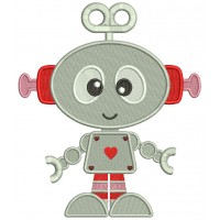 Cute Robot With Heart Filled Machine Embroidery Design Digitized Pattern