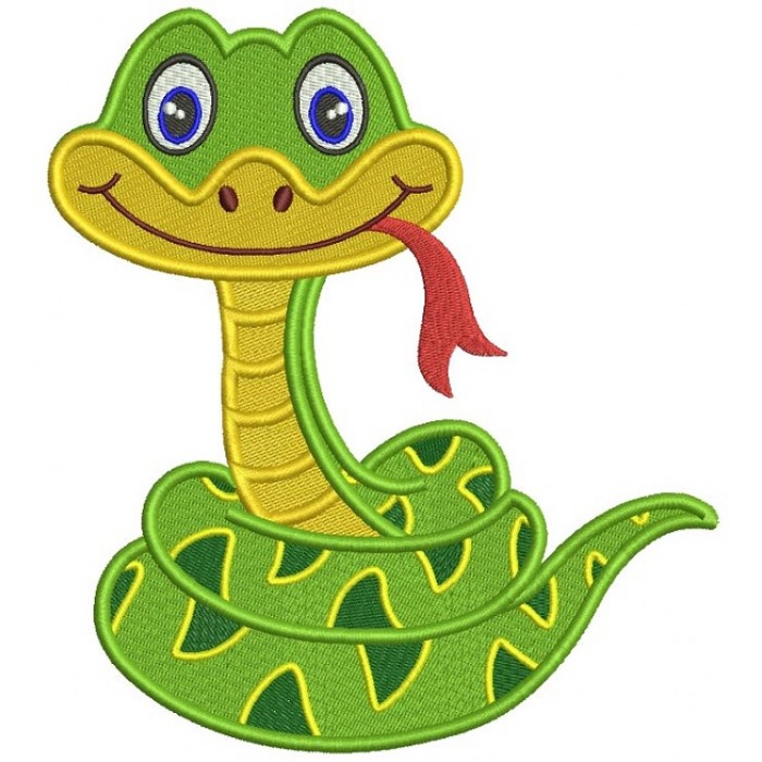 Cute Smiling Snake Filled Machine Embroidery Design Digitized Pattern