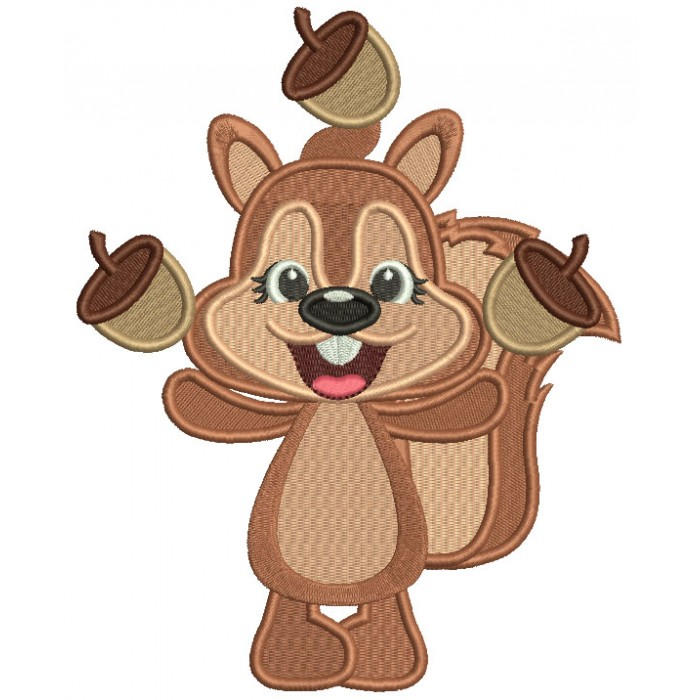 Cute Squirrel Juggling Acorns Fall Filled Thanksgiving Machine Embroidery Design Digitized Pattern