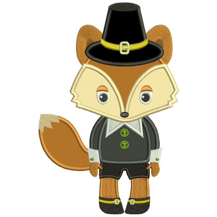 Cute Thanksgiving Pilgrim Father Fox Applique Machine Embroidery Design Digitized Pattern