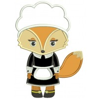 Cute Thanksgiving Pilgrim Mother Fox Applique Machine Embroidery Design Digitized Pattern