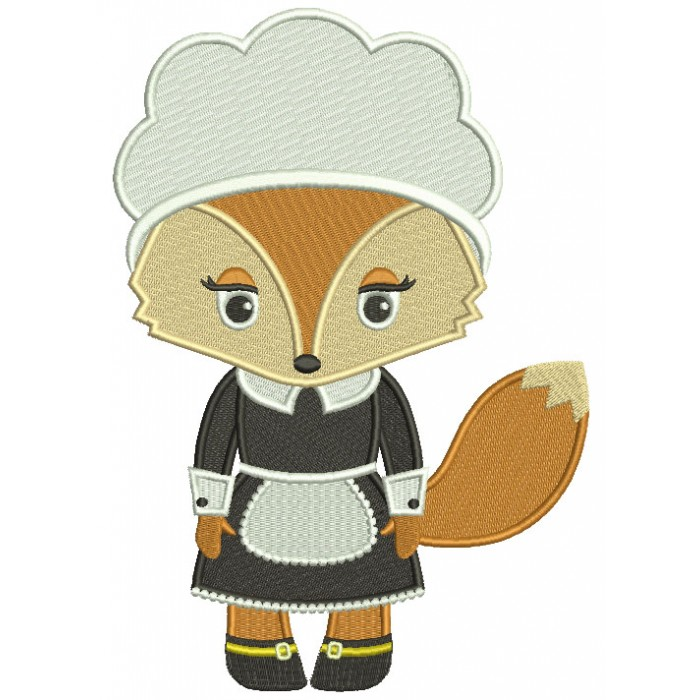 Cute Thanksgiving Pilgrim Mother Fox Filled Machine Embroidery Design Digitized Pattern