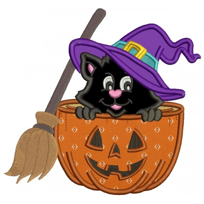 Cute Witch Cat  With a Broom Sitting Inside a Pumpkin Halloween Applique Machine Embroidery Design Digitized Pattern