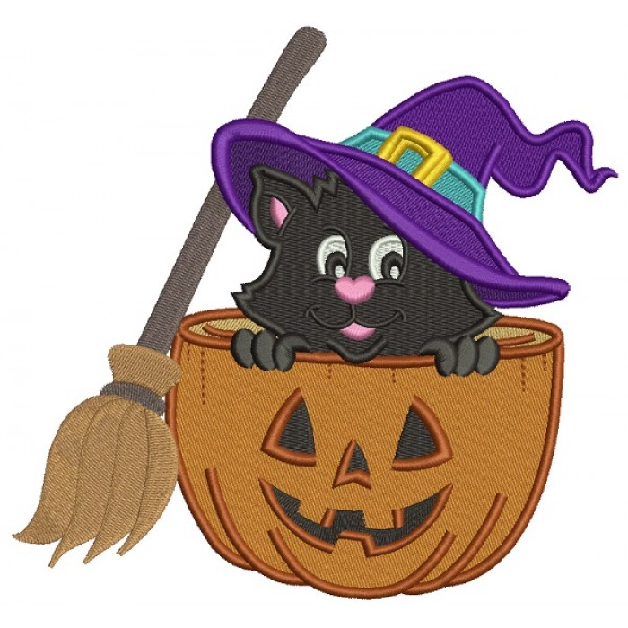 Cute Witch Cat  With a Broom Sitting Inside a Pumpkin Halloween Filled Machine Embroidery Design Digitized Pattern