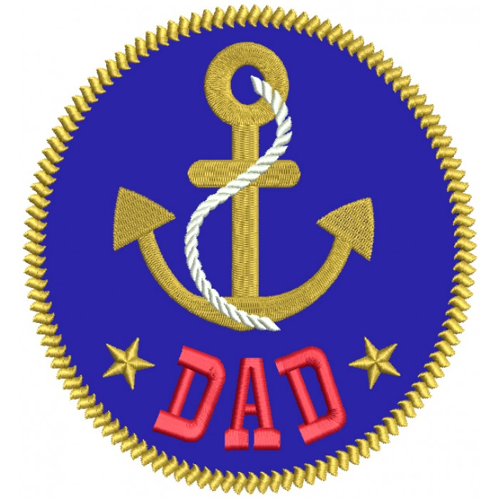Dad Boat Anchor Nautical Applique Machine Embroidery Design Digitized Pattern