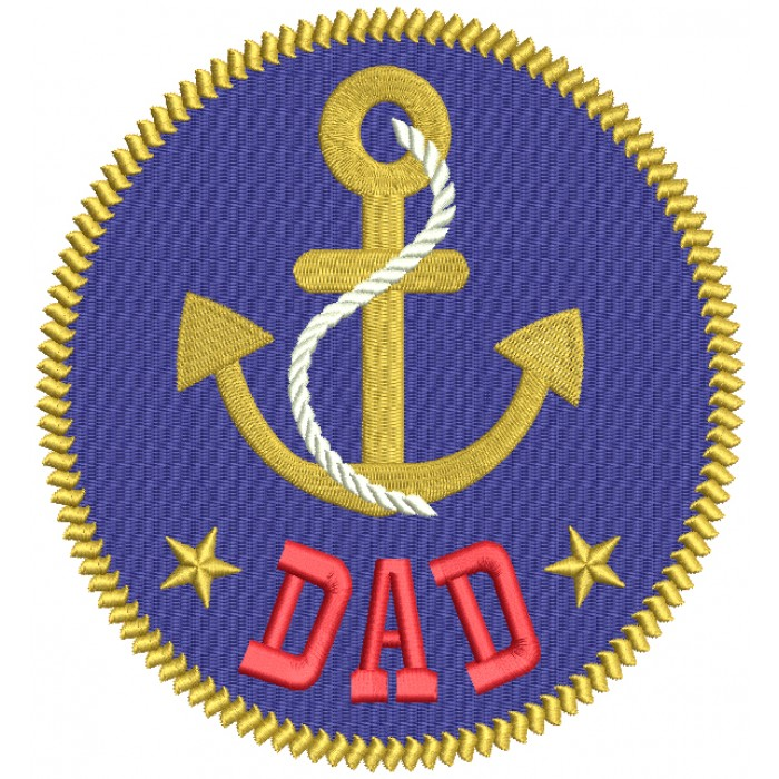 Dad Boat Anchor Nautical Filled Machine Embroidery Design Digitized Pattern
