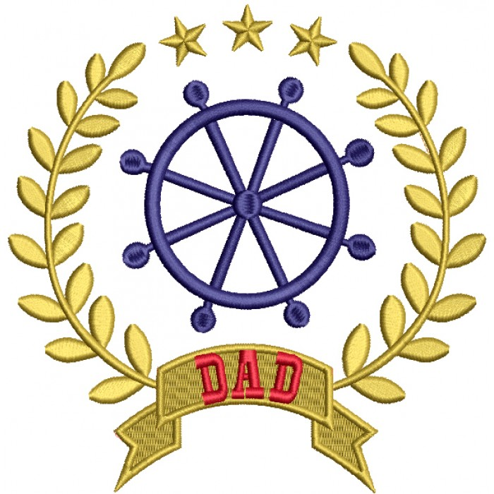 Dad Nautical Ship Helm Filled Machine Embroidery Design Digitized Pattern