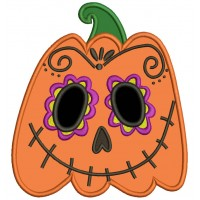 Day Of The Dead Sugar Skull Pumpkin Halloween Applique Machine Embroidery Design Digitized Pattern
