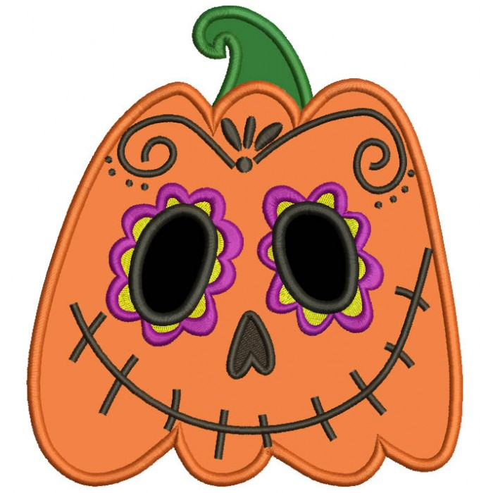 Day Of The Dead Sugar Skull Pumpkin Halloween Applique Machine