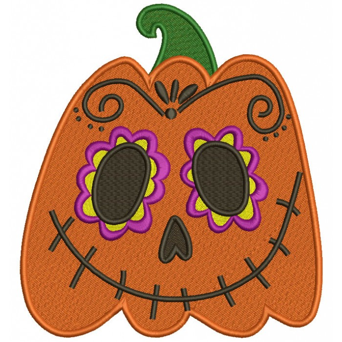 Day Of The Dead Sugar Skull Pumpkin Halloween Filled Machine Embroidery Design Digitized Pattern