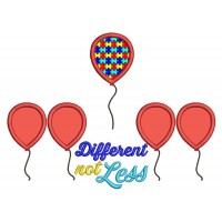 Diffferent Not Less Autism Awareness Balloons Applique Machine Embroidery Design Digitized Pattern