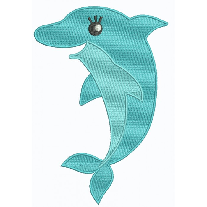 Dolphin Filled Machine Embroidery Design Digitized Pattern