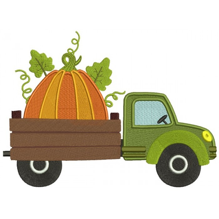 Dump Truck With Pumpkin Filled Machine Embroidery Design Digitized Pattern