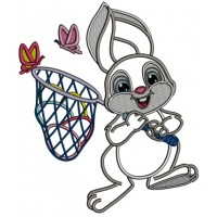 Easter Bunny Catching Butterflies Applique Machine Embroidery Design Digitized Pattern