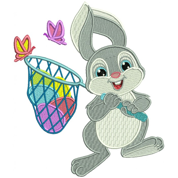 Easter Bunny Catching Butterflies Filled Machine Embroidery Design Digitized Pattern