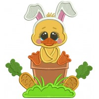Easter Chick Wearing Bunny Ears Sitting On The Flower Pot Applique Machine Embroidery Design Digitized Pattern