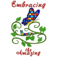 Embracing The Amazing Autism Awareness Butterfly Applique Machine Embroidery Design Digitized Pattern