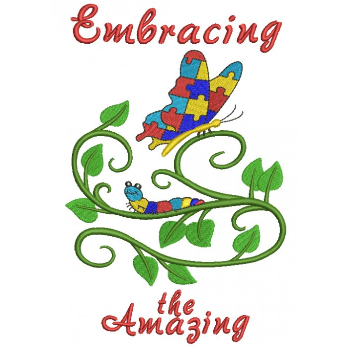 Embracing The Amazing Autism Awareness Butterfly Filled Machine Embroidery Design Digitized Pattern