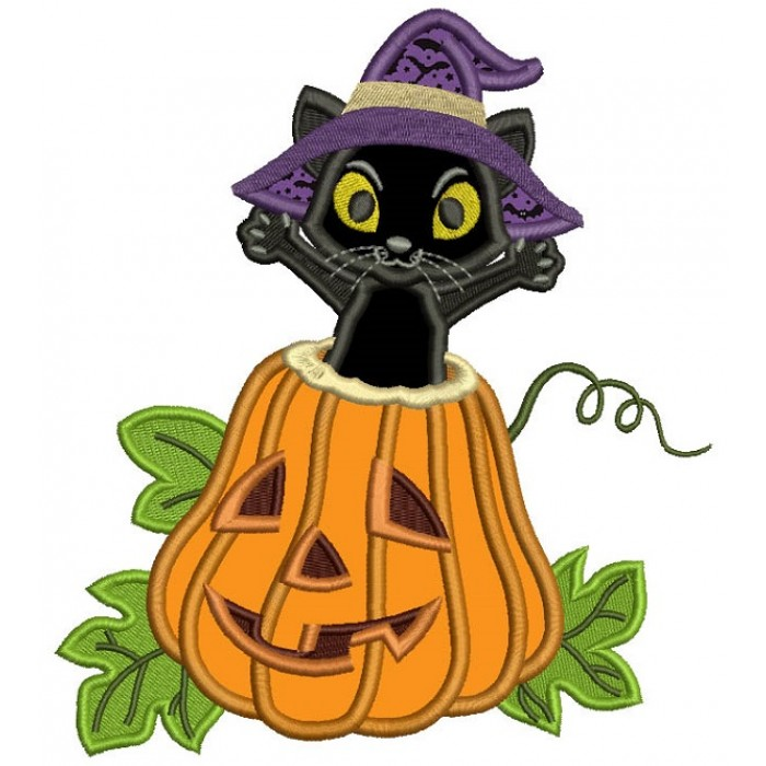 Excited Black Cat Sitting in the Pumpkin Halloween Applique Machine Embroidery Design Digitized Pattern