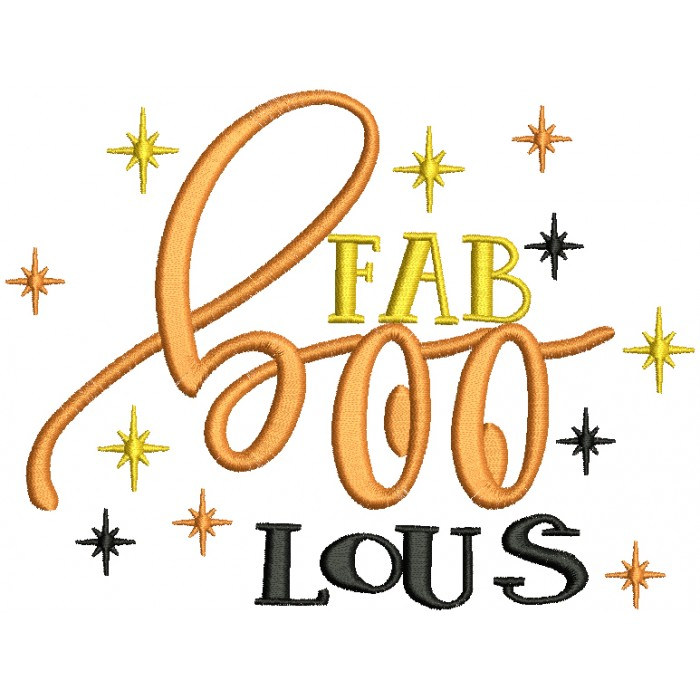 Fab BOO Lous Filled Machine Embroidery Design Digitized Pattern