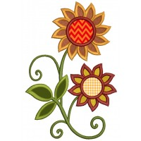 Fall Wild Flowers Applique Machine Embroidery Design Digitized Pattern