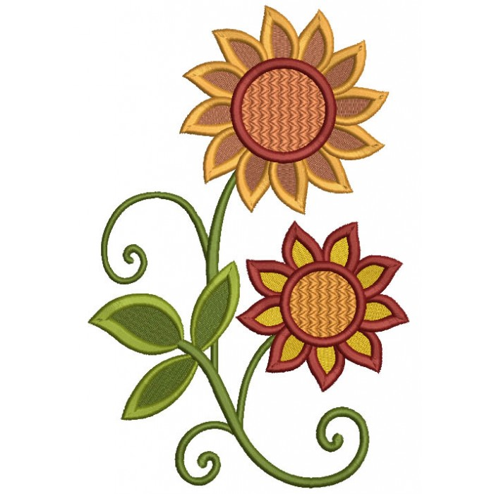 Fall Wild Flowers Filled Machine Embroidery Design Digitized Pattern