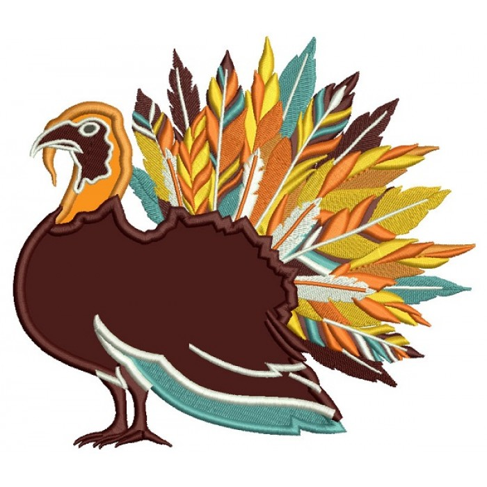 Fancy Feathered Turkey Thanksgiving Applique Machine Embroidery Design Digitized Pattern